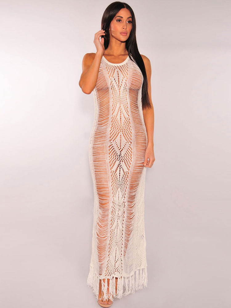 White Club Dress Round Neck Sleeveless Semi Sheer Fringe Cut Out Women's Long Dresses (Women\\'s Clothing Club Dresses) photo
