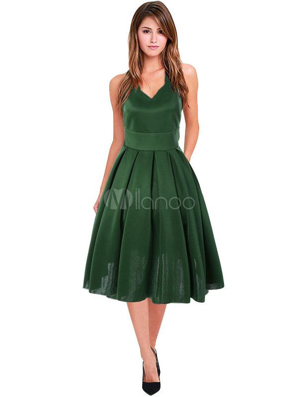Green Vintage Dress V Neck Sleeveless Pleated Dresses For Women (Women\\'s Clothing Vintage Dresses) photo
