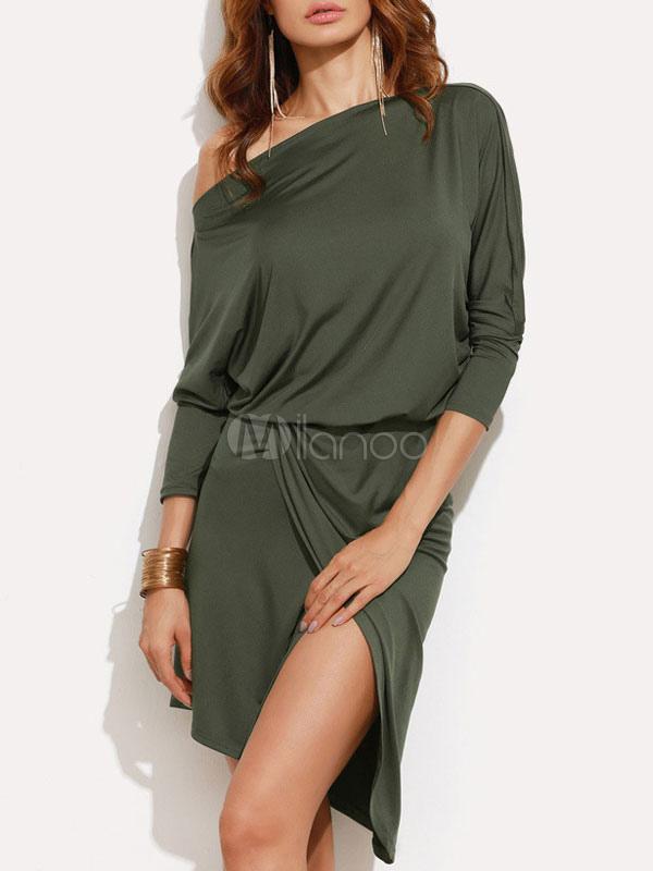 Hunter Green Skater Dress Women's Asymmetrical Neckline Long Sleeve Slit Flare Dress (Women\\'s Clothing Skater Dresses) photo