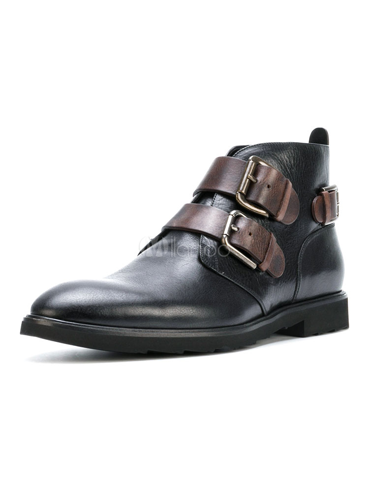 Men's Black Booties Round Toe Buckled Cowhide Flat Biker Boots thumbnail