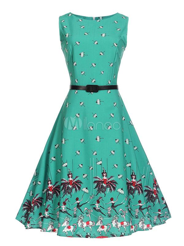 Chiffon Vintage Dress Anime Print Round Neck Sleeveless Pleated Women's Green Skater Dress (Women\\'s Clothing Vintage Dresses) photo