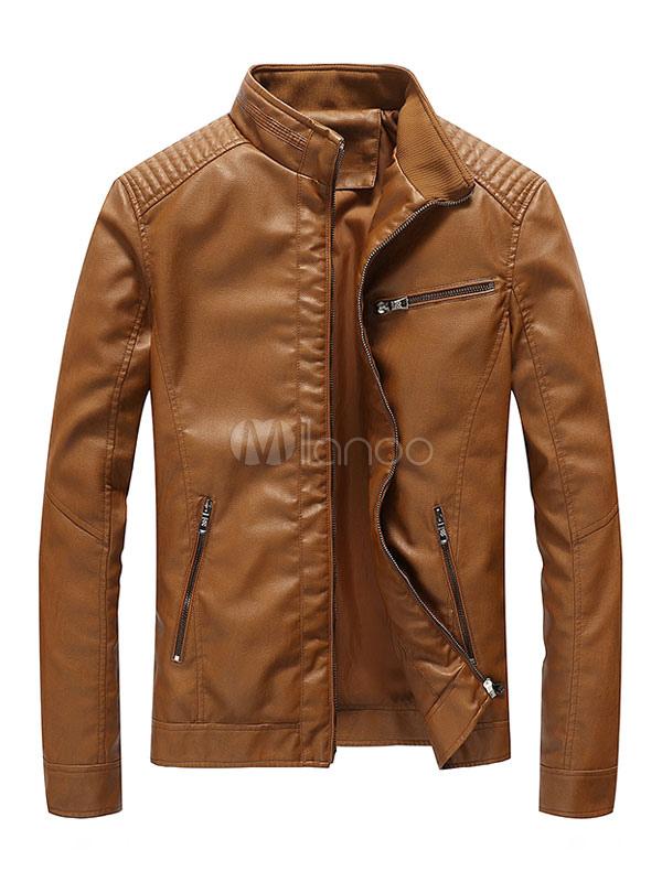 Brown Leather Jacket Stand Collar Zip Up Men's Short Jacket thumbnail