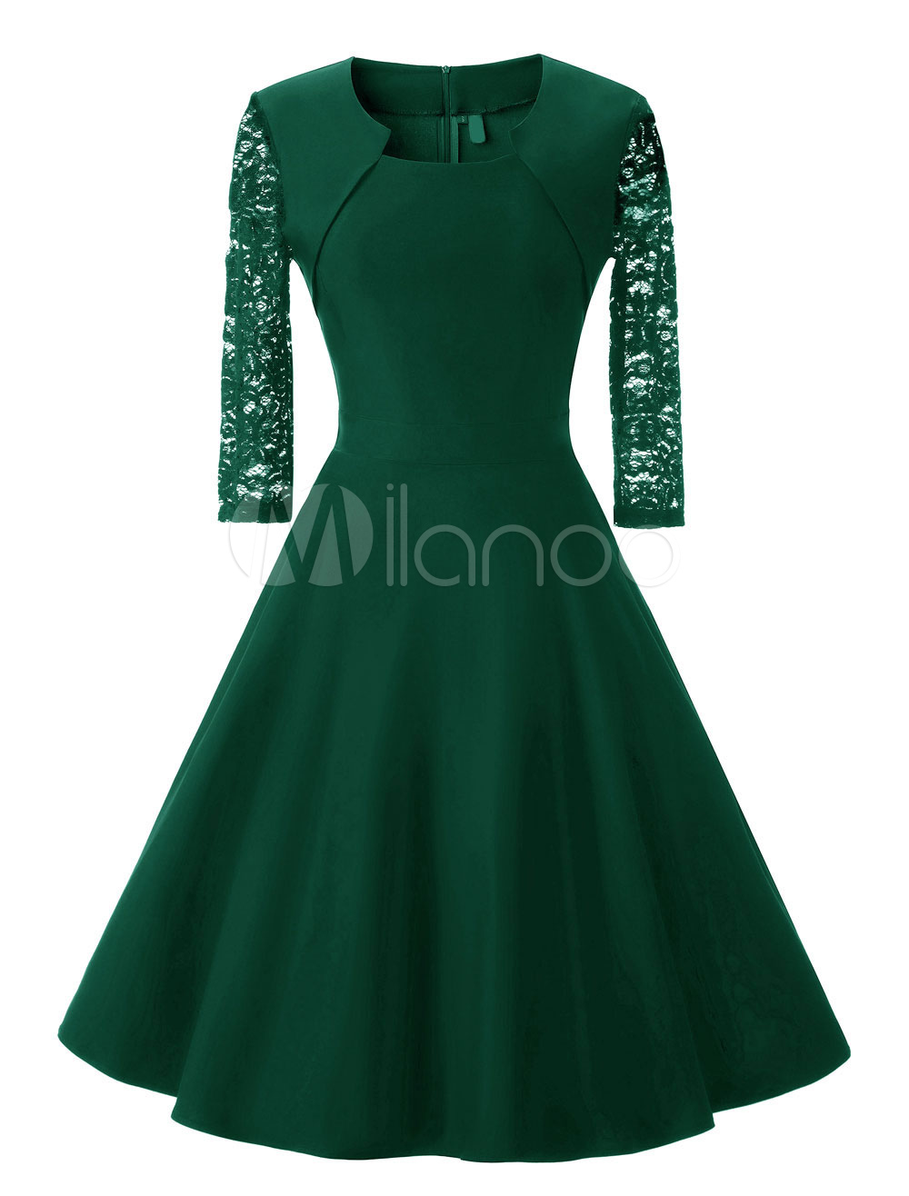 Green Vintage Dress Lace Semi Sheer 3/4 Length Sleeve Pleated Dresses For Women (Women\\'s Clothing Vintage Dresses) photo
