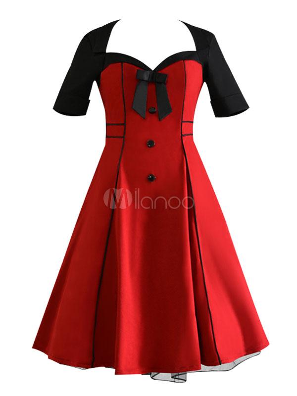 Vintage Women Dress Burgundy Retro Dress Sweetheart Neck Short Sleeve Skater Dress (Women\\'s Clothing Vintage Dresses) photo