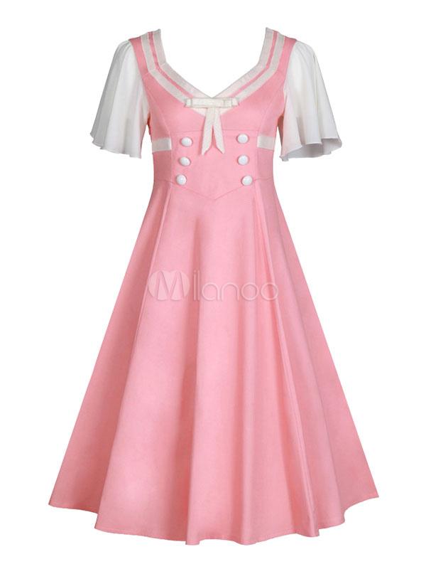 Women Vintage Dress Retro Dress Pink V Neck Short Sleeve Skater Dress (Women\\'s Clothing Vintage Dresses) photo