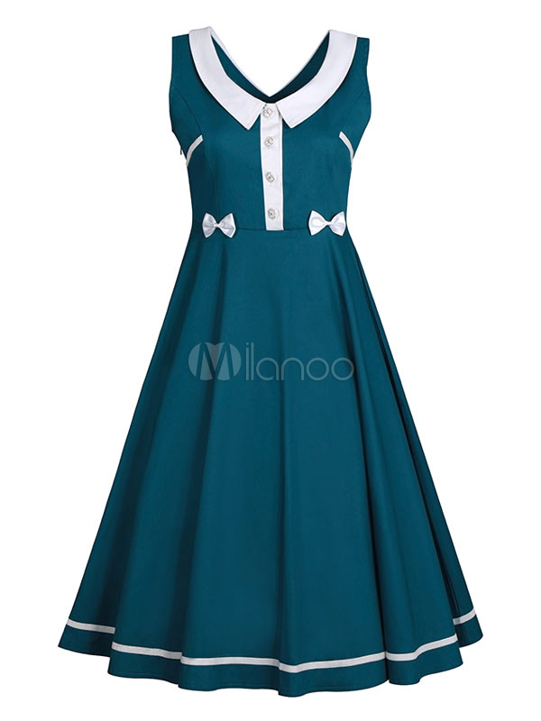Women Vintage Dress Skater Dress Green V Neck Sleeveless Pleated A Line Dress (Women\\'s Clothing Vintage Dresses) photo