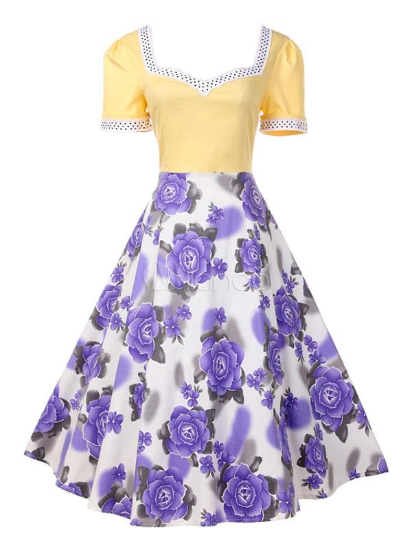 Yellow Vintage Dress V Neck Short Sleeve Floral Print Women's Retro Dresses (Women\\'s Clothing Vintage Dresses) photo