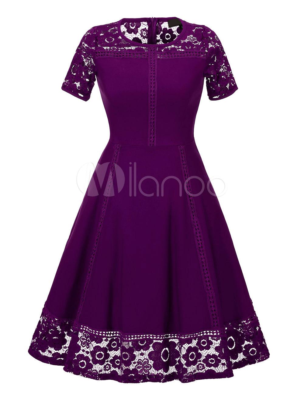 Women's Vintage Dress Purple Lace Patch Short Sleeve Pleated Retro Flare Dress (Women\\'s Clothing Vintage Dresses) photo