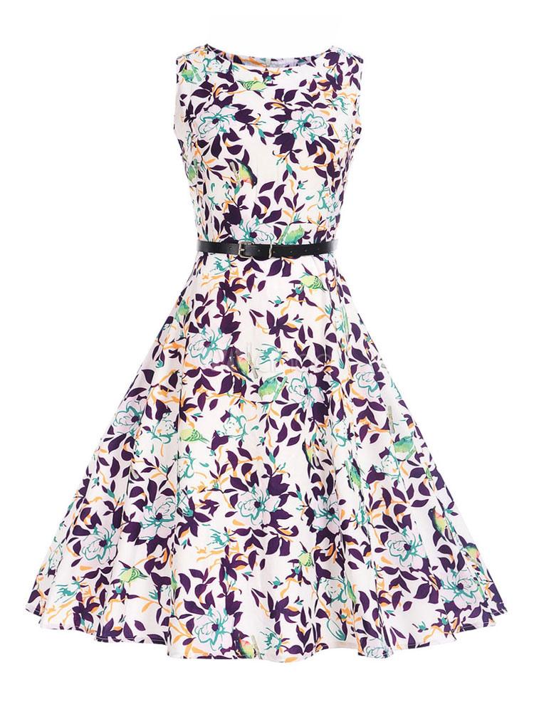 White Vintage Dress Round Neck Sleeveless Floral Print Summer Dresses For Women (Women\\'s Clothing Vintage Dresses) photo