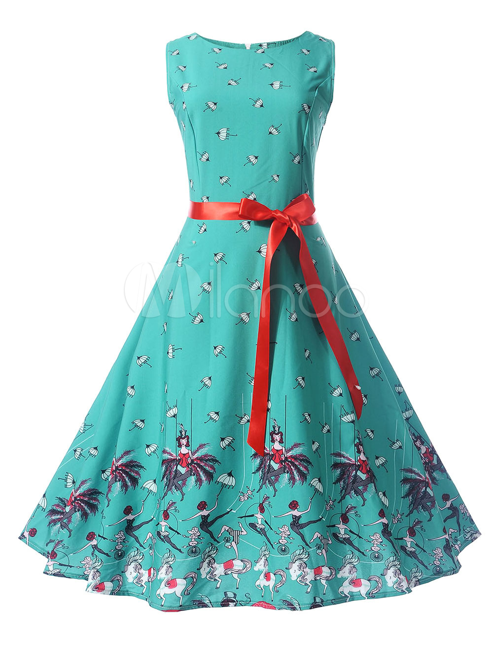 Green Vintage Dress Round Neck Sleeveless Floral Print Women's Summer Dresses (Women\\'s Clothing Vintage Dresses) photo