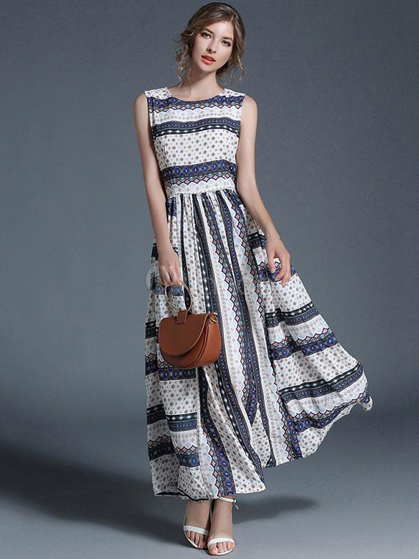 White Long Dress Round Neck Sleeveless Chiffon Printed Draped Women's Maxi Dresses (Women\\'s Clothing) photo