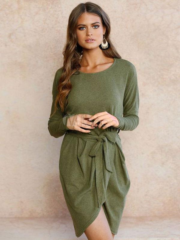 Women Mini Dress Bodycon Dress Green Round Neck Long Sleeve Pencil Dress (Women\\'s Clothing Bodycon Dresses) photo