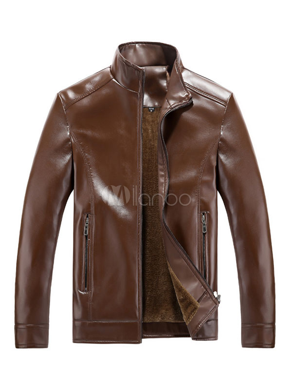 Black Leather Jacket Stand Collar Long Sleeve Men's Casual Jacket thumbnail