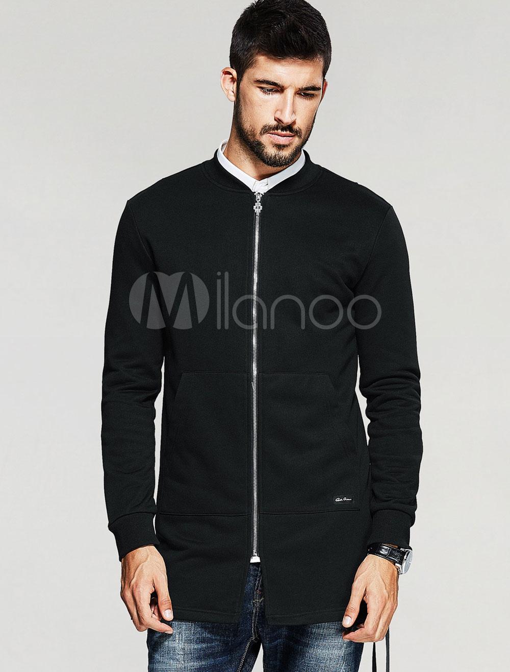 Men's Black Jackets Stand Collar Long Sleeve Zip Up Slim Fit Jacket thumbnail