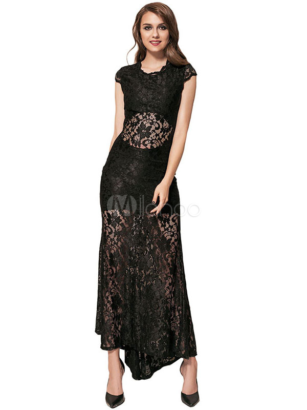 Black Lace Dress Round Neck Short Sleeve Cut Out Semi-Sheer Maxi Dress For Women (Women\\'s Clothing Lace Dresses) photo