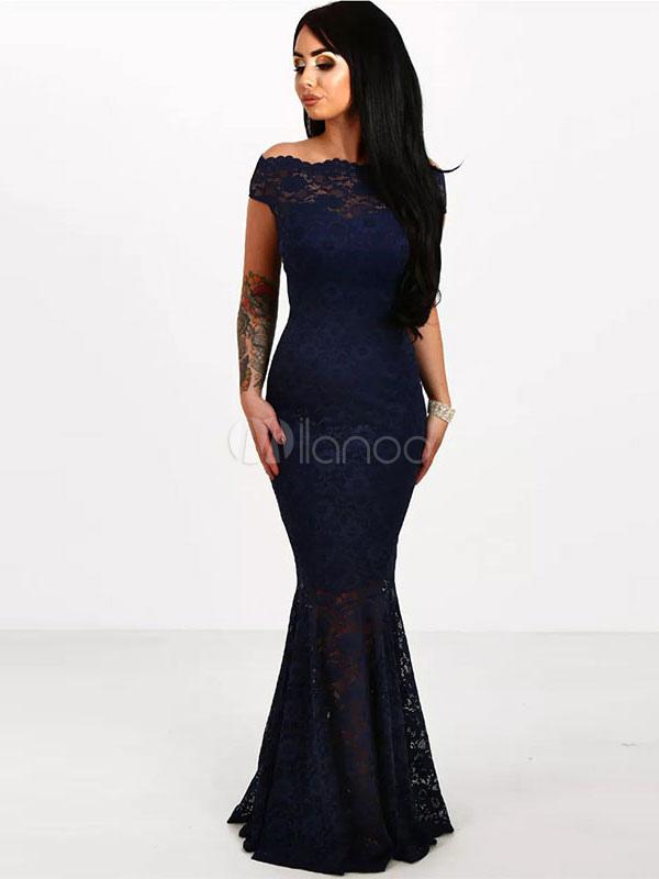 Black Lace Dress Women's Off The Shoulder Short Sleeve Mermaid Evening Dress (Women\\'s Clothing Lace Dresses) photo