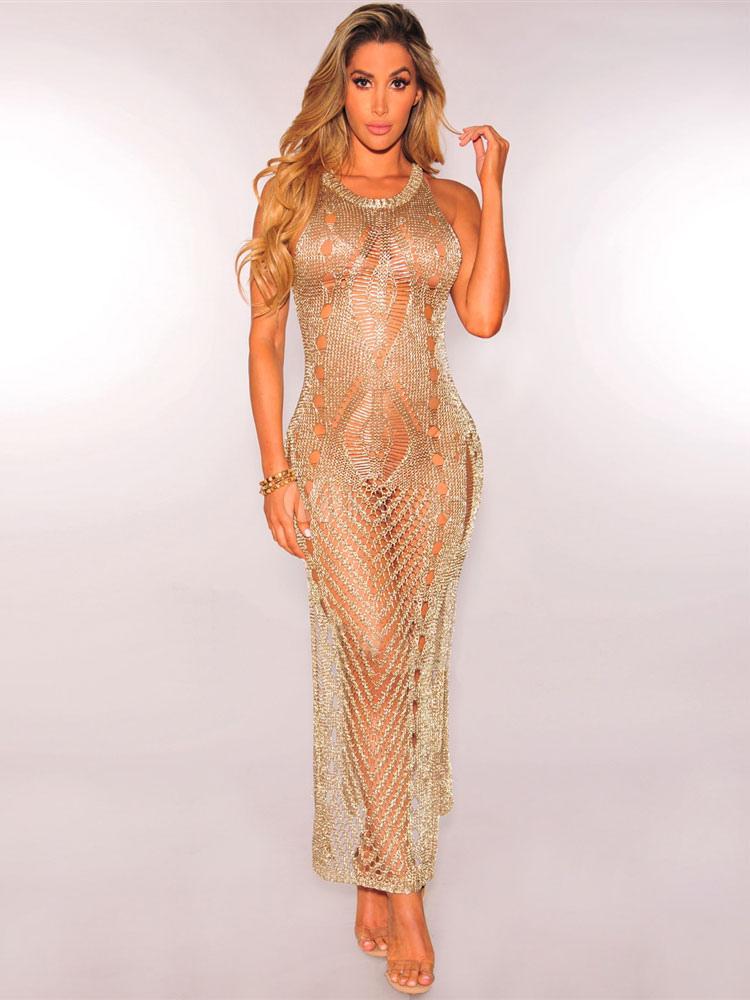 Gold Club Dress Round Neck Sleeveless Semi Sheer Metallic Crochet Split Long Dresses For Women (Women\\'s Clothing Club Dresses) photo
