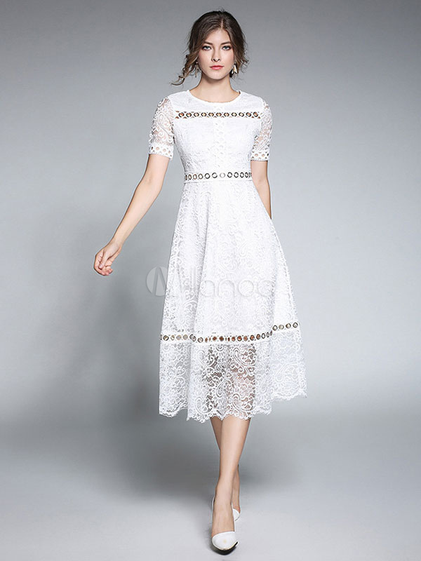 White Lace Dress Round Neck Short Sleeve Cut Out Semi Sheer Midi Dresses For Women (Women\\'s Clothing Lace Dresses) photo