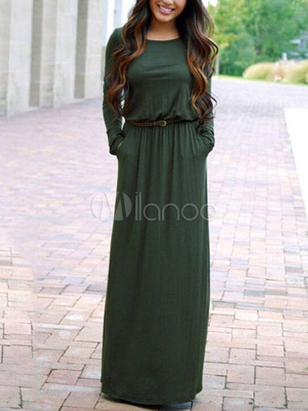 Women's Maxi Dress Round Neck Long Sleeve Dark Green Long Dresses (Women\\'s Clothing Maxi Dresses) photo