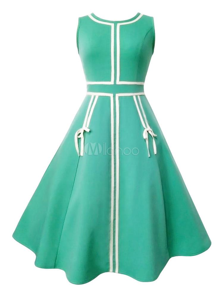 Women Cotton Dress Sleeveless Two Tone Pleated Green Retro Dress (Women\\'s Clothing Vintage Dresses) photo