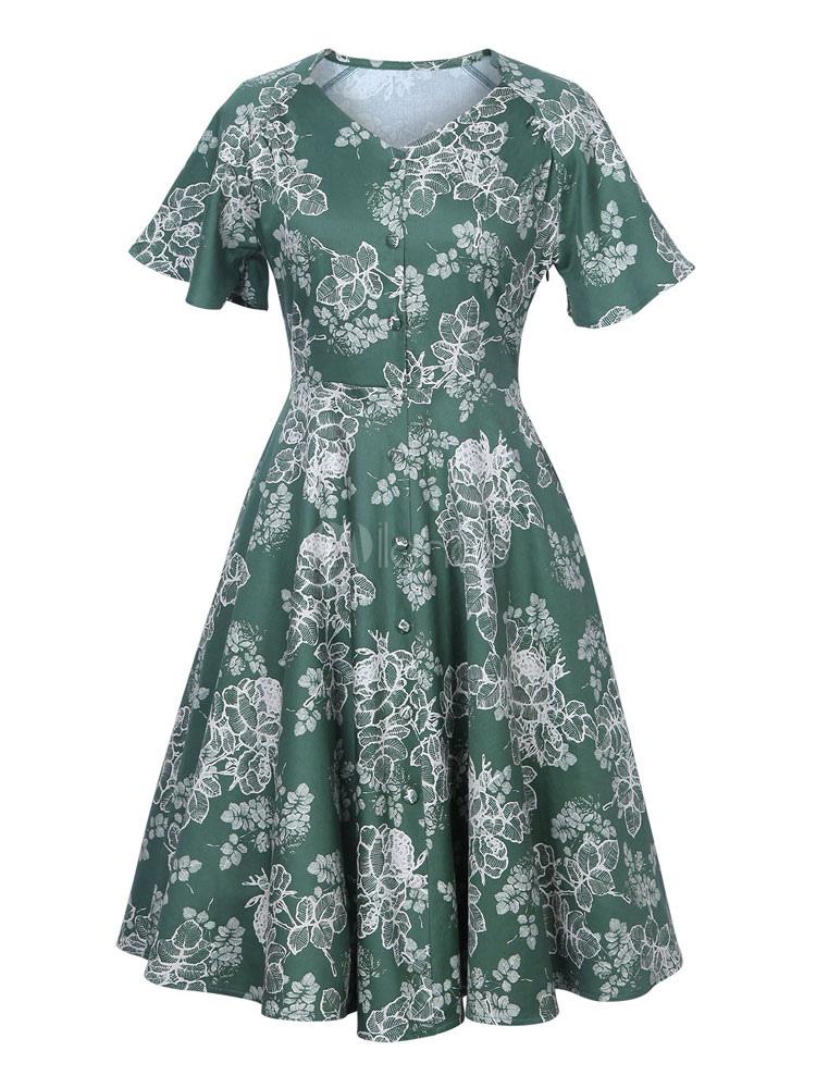 Green Vintage Dress V Neck Short Sleeve Floral Print A Line Skater Dresses For Women (Women\\'s Clothing Vintage Dresses) photo