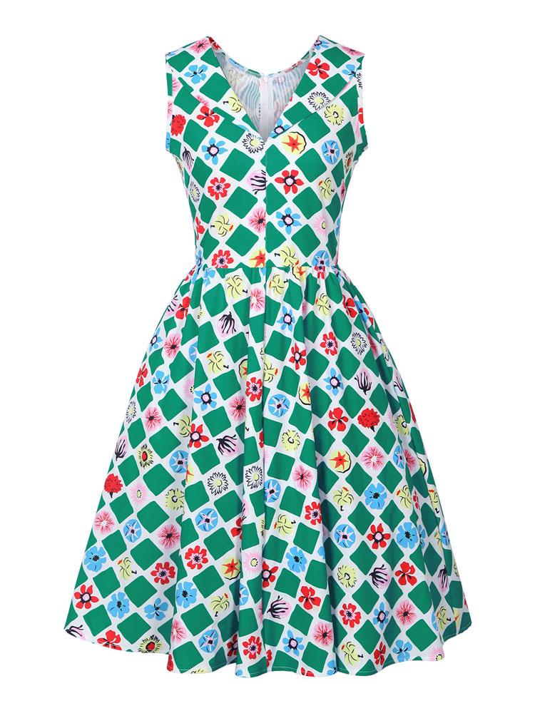 Green Vintage Dress V Neck Sleeveless Printed A Line Dresses For Women (Women\\'s Clothing Vintage Dresses) photo