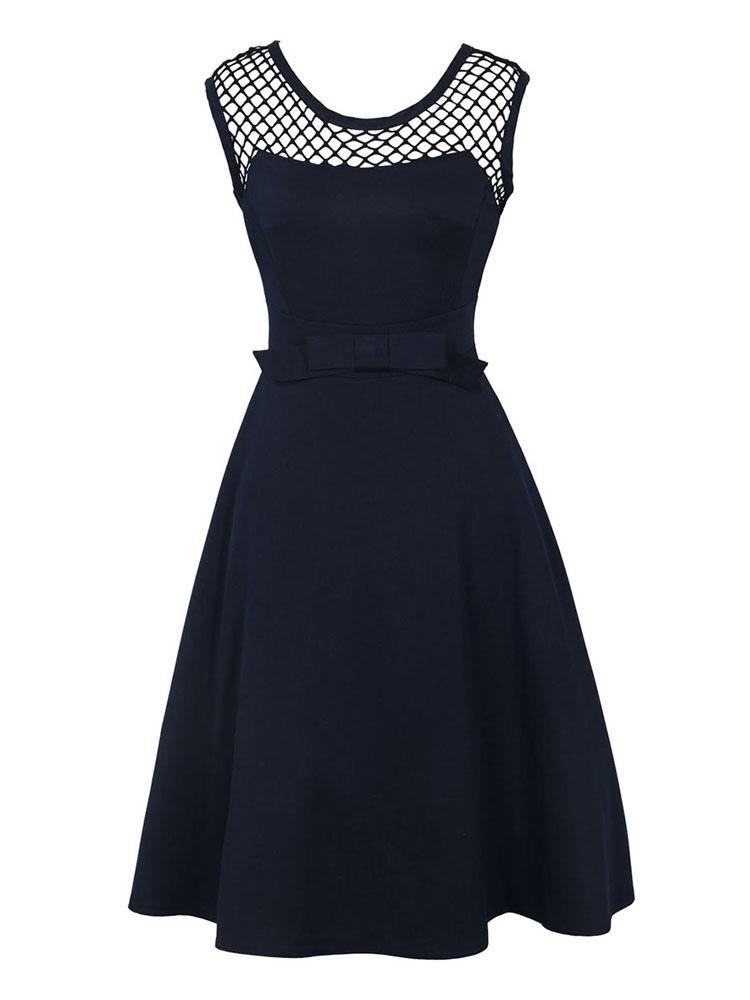 Black Vintage Dress Round Neck Sleeveless Net A Line Dresses For Women (Women\\'s Clothing Vintage Dresses) photo
