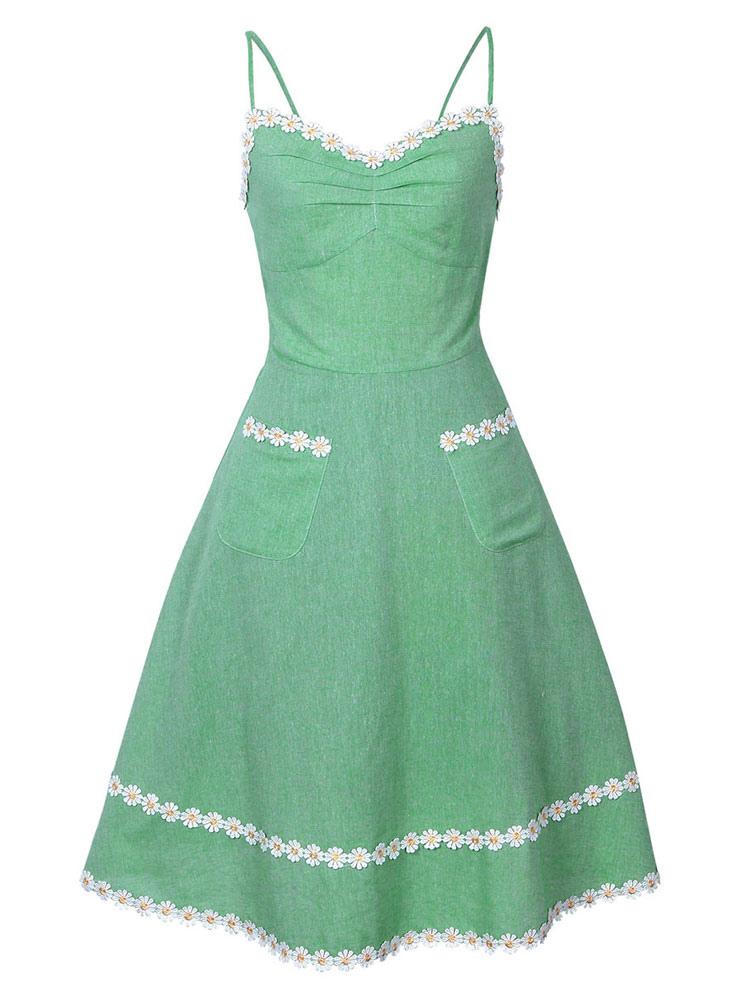 Green Vintage Dress Sleeveless Straps Flowers Applique A Line Dresses For Women (Women\\'s Clothing Vintage Dresses) photo