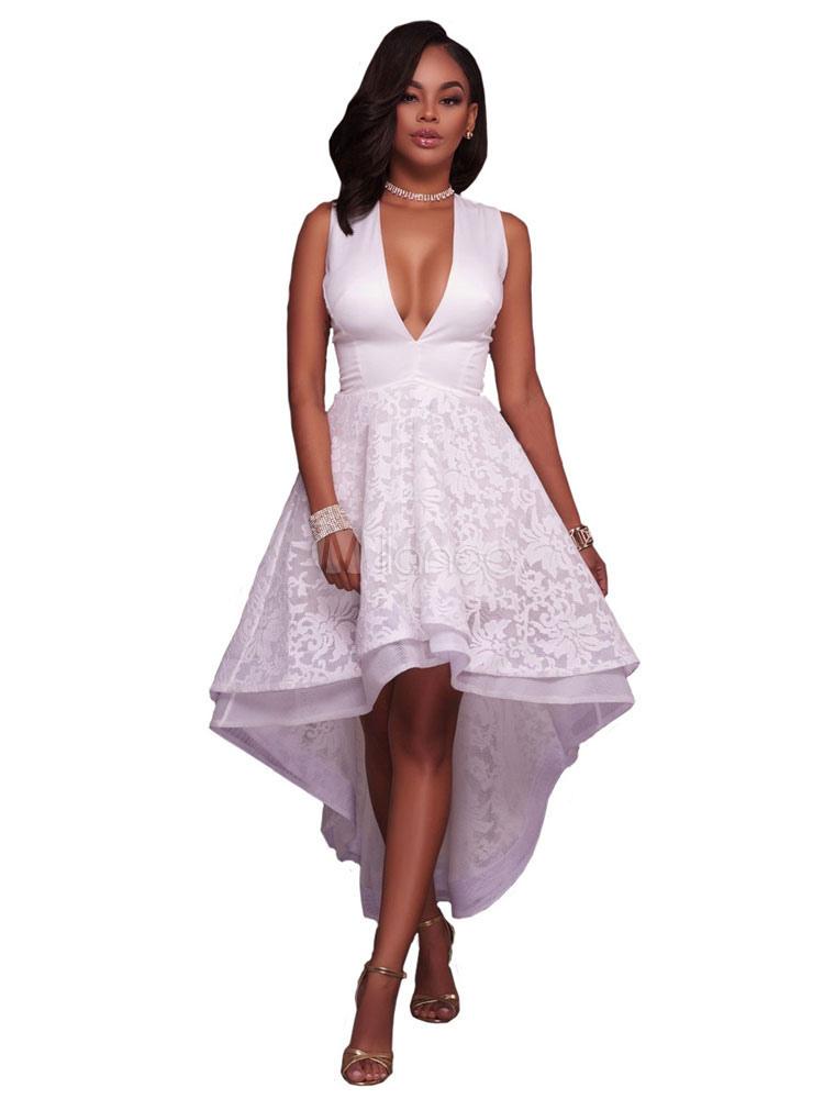 White Skater Dress Lace Plunging Neck Sleeveless High Low Evening Dresses For Women (Women\\'s Clothing Skater Dresses) photo