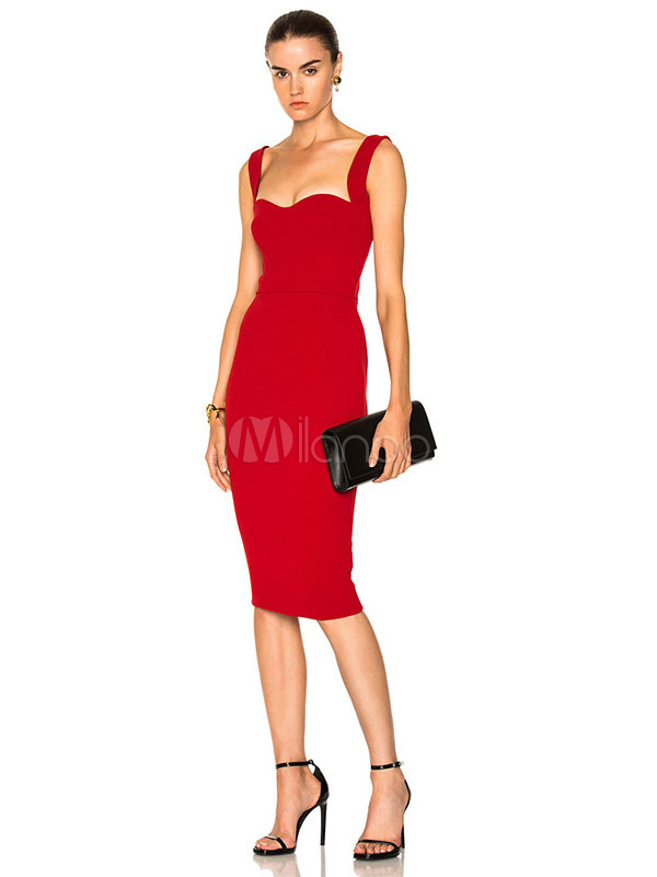 Red Party Dress Straps Sweetheart Neck Sleeveless Backless BodyCon Dresses For Women (Women\\'s Clothing Party Dresses) photo