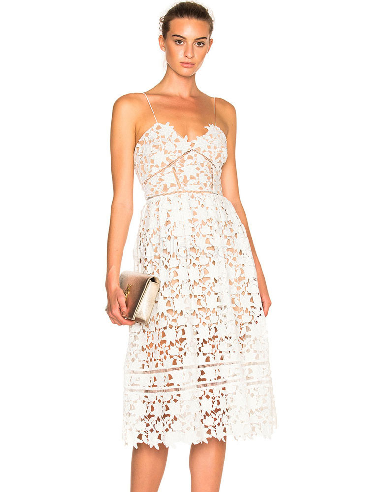 White Lace Dress Straps Sleeveless Semi Sheer Backless Sexy Dresses For Women (Women\\'s Clothing Lace Dresses) photo