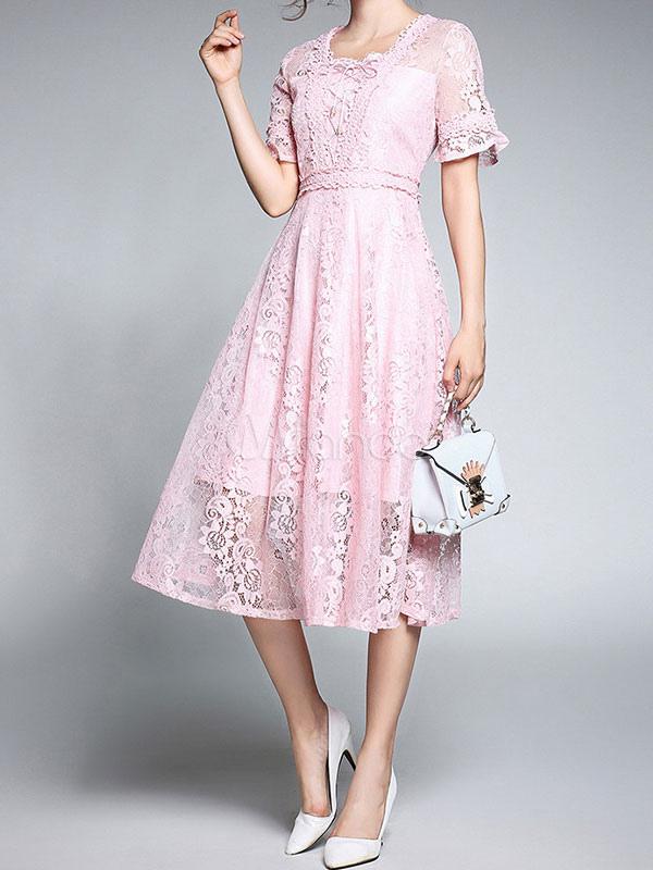 Pink Lace Dress Short Sleeve Square Neck Semi Sheer A Line Midi Dresses For Women (Women\\'s Clothing Lace Dresses) photo