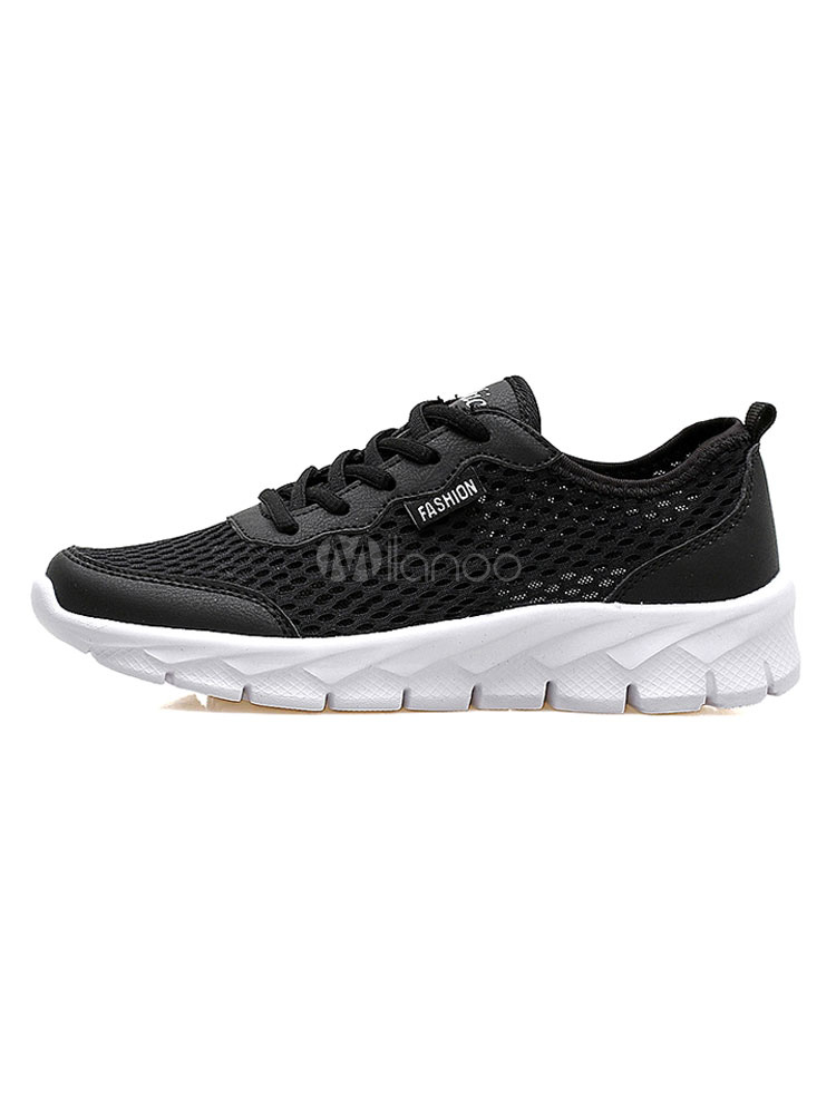 Black Casual Sneakers Men's Round Toe Color Block Lace Up Mesh Running Shoes thumbnail