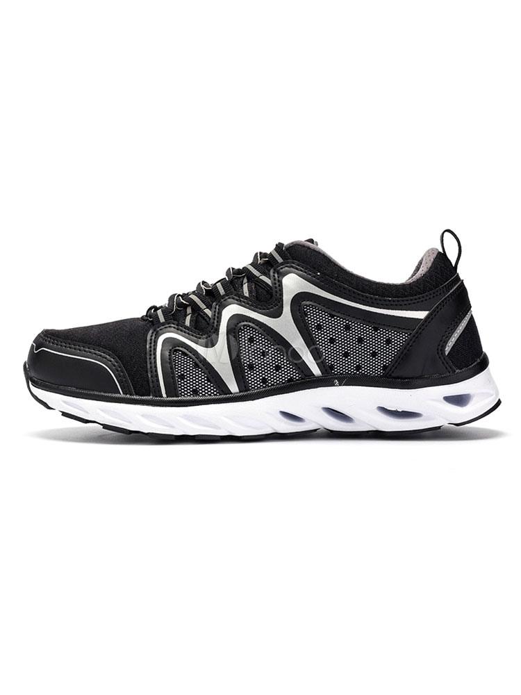Black Running Shoes Round Toe Mesh Color Block Men's Hiking Shoes thumbnail