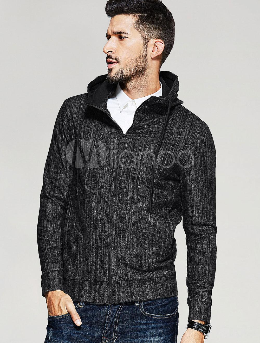 Men's Black Jackets Hooded Long Sleeve Striped Short Jacket thumbnail