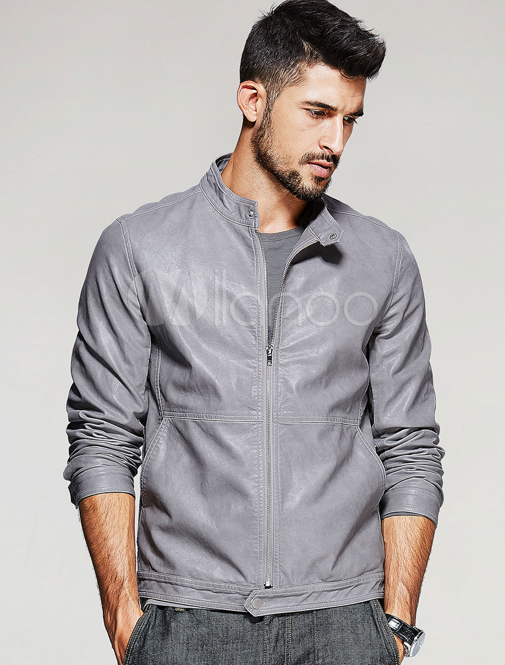 Grey Leather Jackets Men's Stand Collar Long Sleeve Slim Fit Short Jacket thumbnail