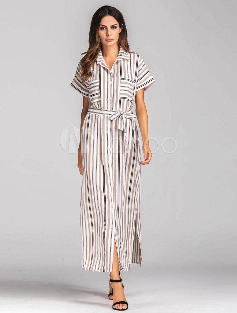 Apricot Shirt Dress Short Sleeve Turndown Collar Striped Women's Long Dresses (Women\\'s Clothing Shirt Dresses) photo