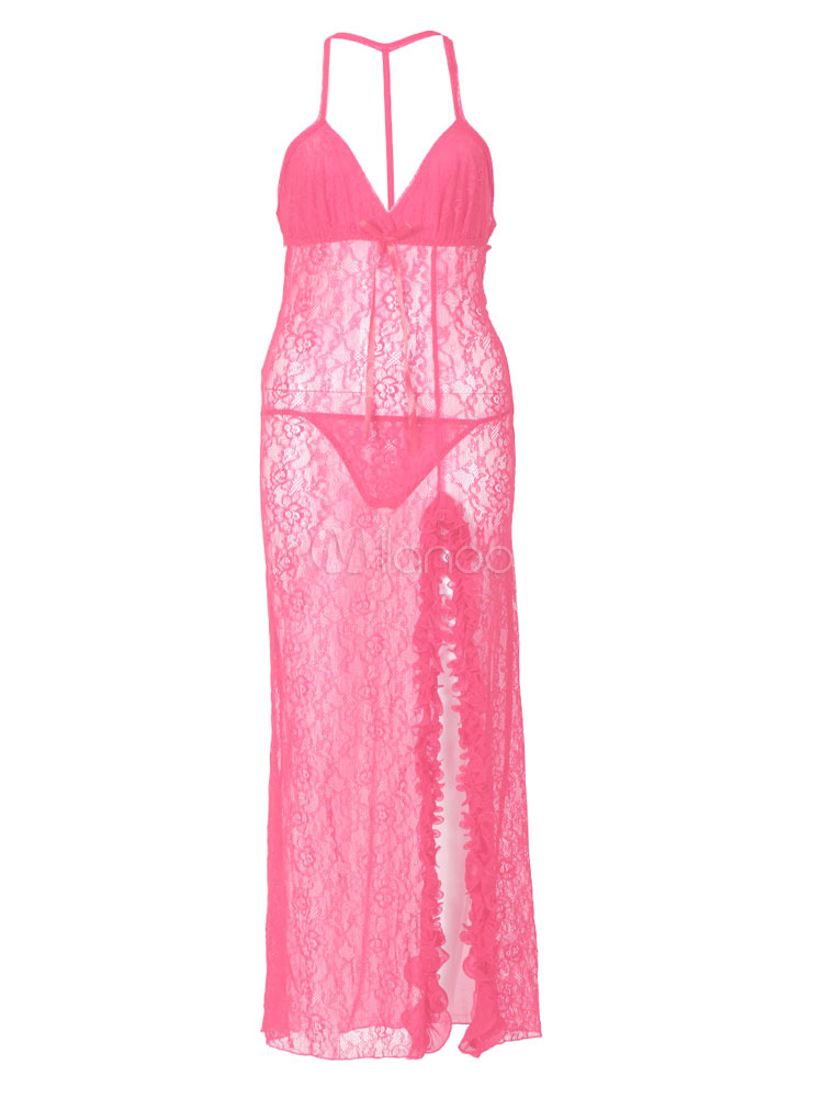 Women Lace Gown Set Tulle Straps Semi Sheer Split Pink Maxi Dress With Panties (Women\\'s Clothing Gowns & Robes) photo