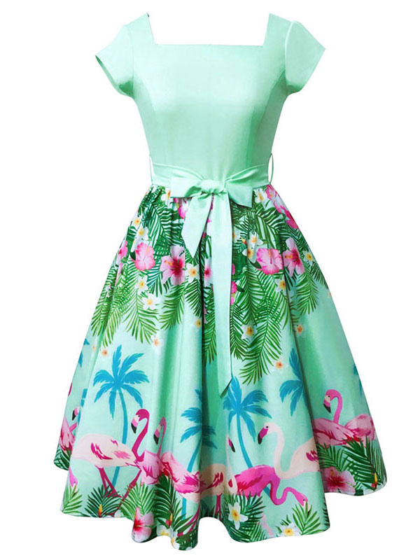 Green Vintage Dress Square Neck Short Sleeve Flamingo Printed A Line Women's Dresses (Women\\'s Clothing Vintage Dresses) photo