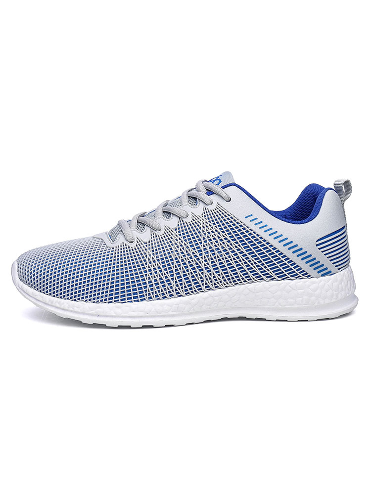 Light Grey Sneakers Mens Mesh Round Toe Lace Up Running Shoes thumbnail