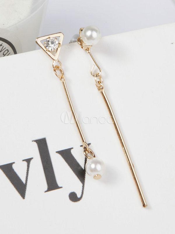 Gold Asymmetrical Earring Pearls Rhinestones Metal Fringes Women's Party Drop Earrings thumbnail