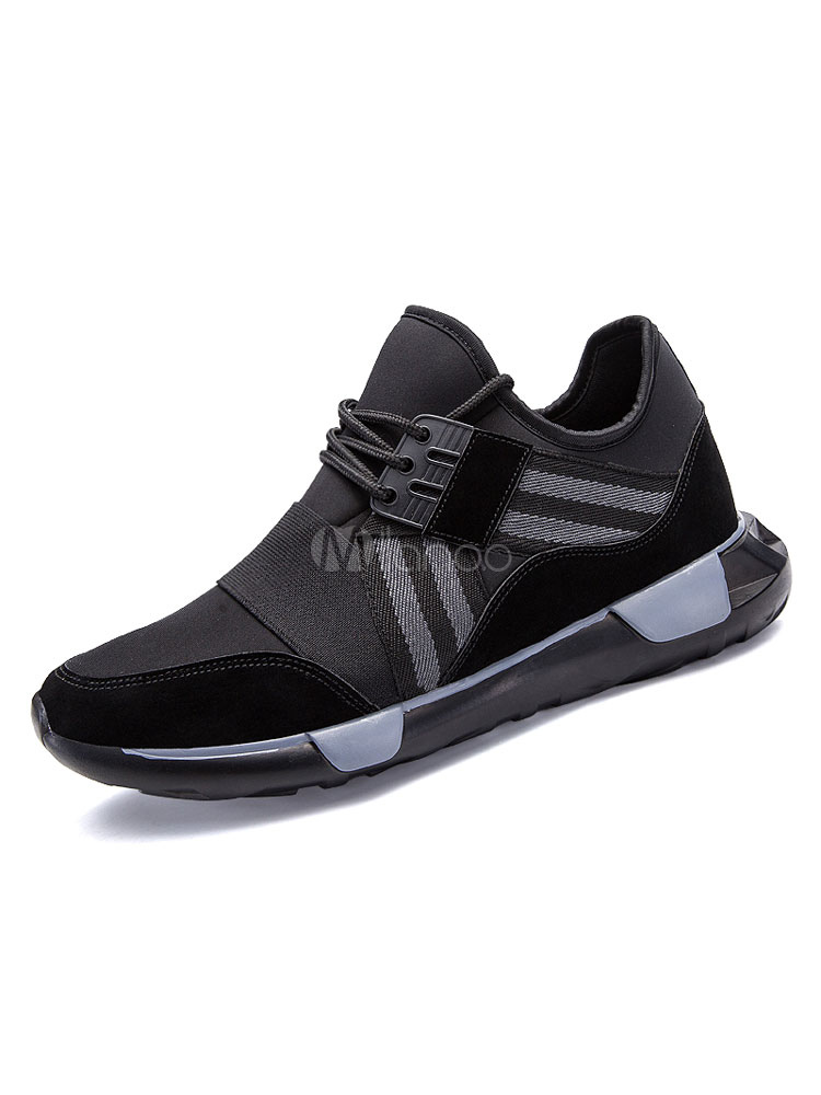 Men's Black Sneakers Elastic Round Toe Lace Up Athletic Shoes thumbnail