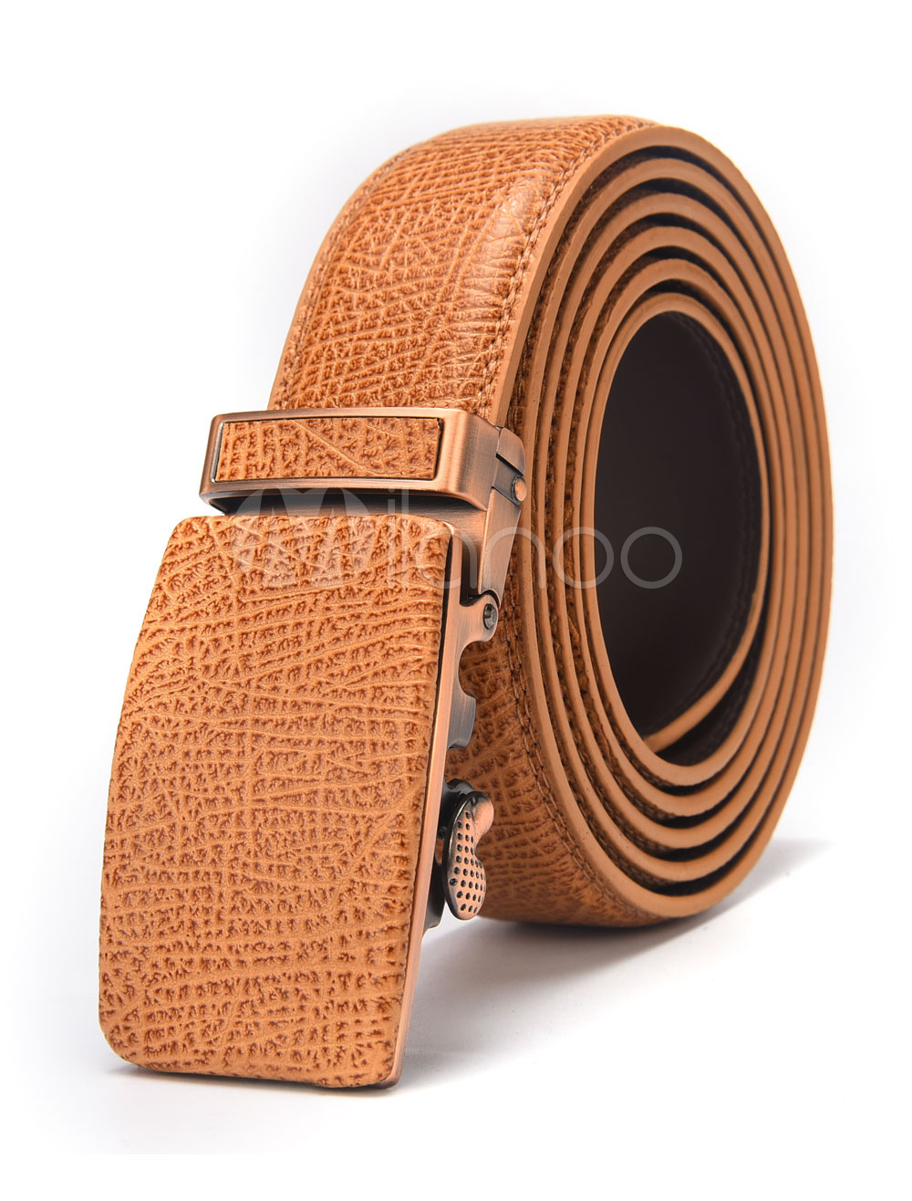 Light Brown Belt Buckled Men's Business Leather Belt thumbnail