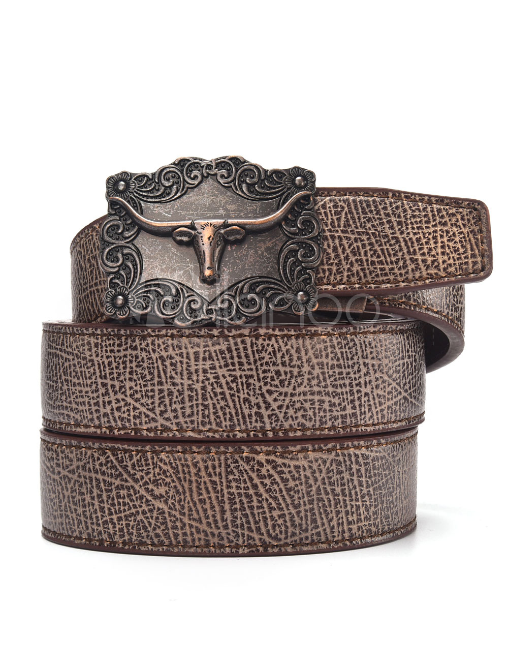 Brown Leather Belt Animal Metal Detail Chic Belt For Men thumbnail
