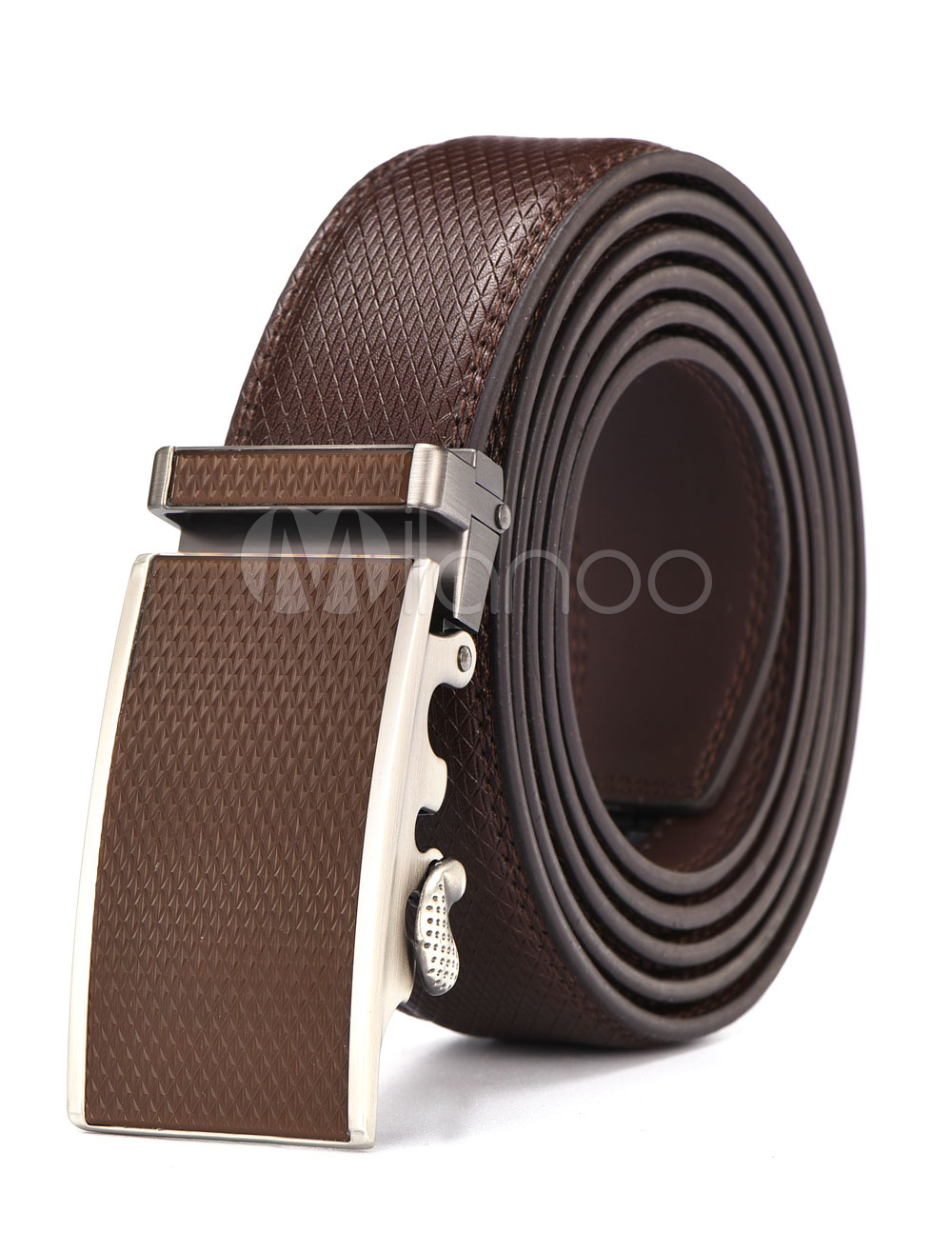 Brown Leather Belt Metal Detail Business Casual Belt For Men thumbnail