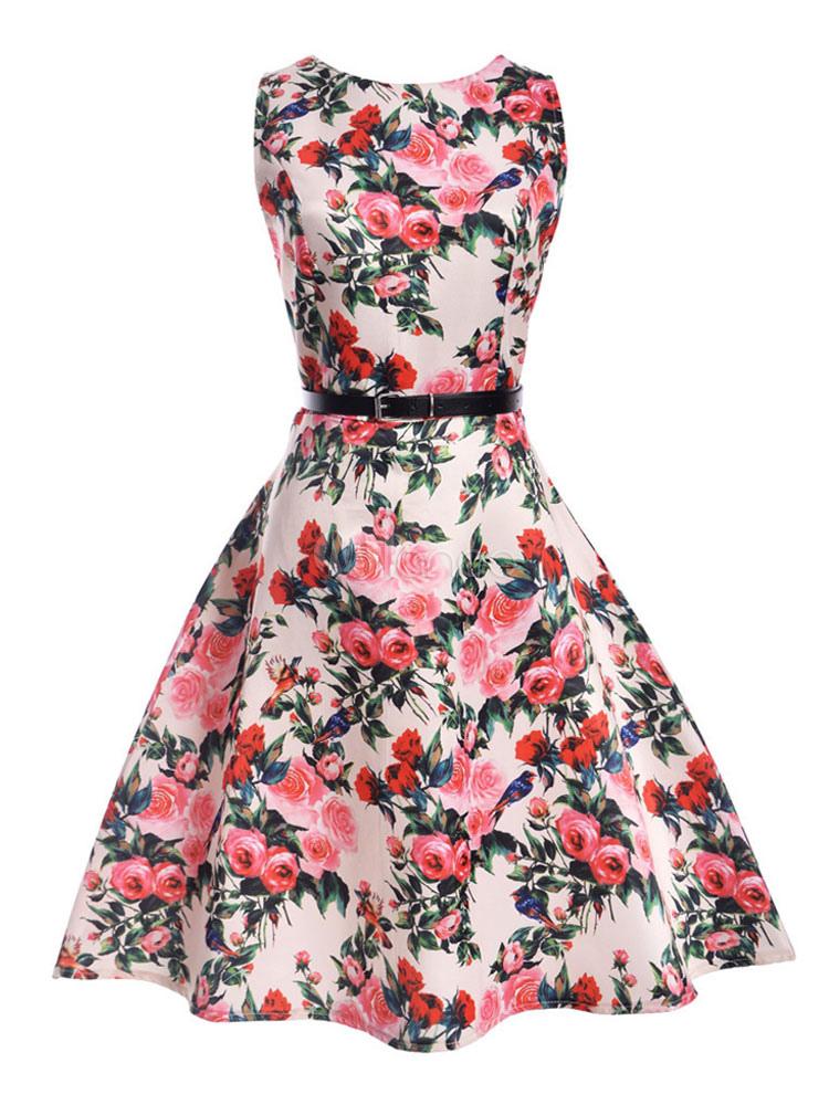 Pink Vintage Dress Round Neck Sleeveless Floral Print A Line Women's Dresses (Women\\'s Clothing Vintage Dresses) photo