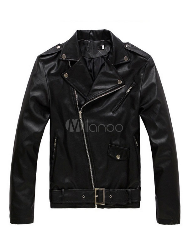 Black Moto Jackets Men's Turndown Collar Long Sleeve Zip Up Regular Fit Short Jacket thumbnail