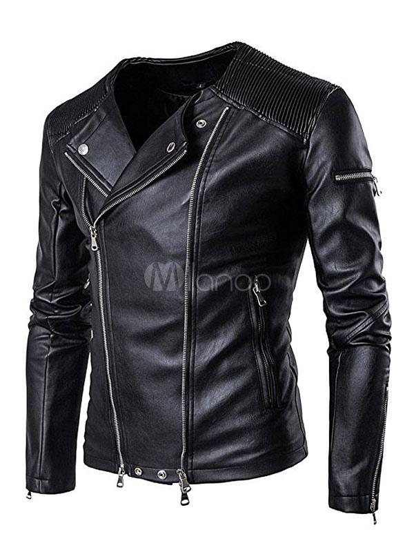 Black Moto Jacket Long Sleeve Turndown Collar PU Leather Jackets For Men thumbnail