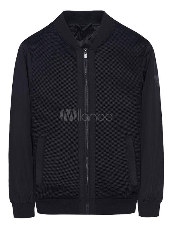 Men Bomber Jacket Black Short Jacket Stand Collar Long Sleeve Zip Up Varsity Jacket thumbnail