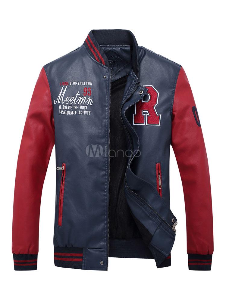 Red Short Jackets Men's Stand Collar Long Sleeve Printed Regular Fit Bomber Jacket thumbnail